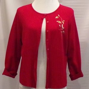 Emma James Red Long Sleeve Cardigan